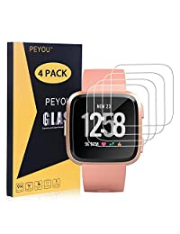 PEYOU [4 Pack] Screen Protector for Fitbit Versa Smartwatch 2018 Release, HD Clear 9H Tempered Glass Screen Protector, HD Clear, 2.5D Round Edge, Scratch-Resistant, Bubble Free