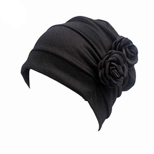 Ruffle Scarf - HONENNA Ruffle Chemo Turban Headband Scarf Beanie Cap Hat for Cancer Patient (New BlackA)