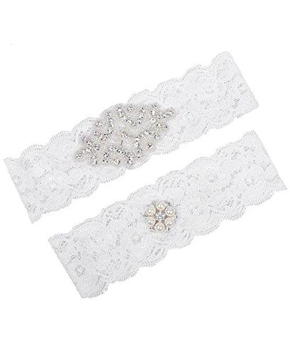 Lace Bridal Garter Set - MerryJuly Bridal Garter set Lace with Rhinestones Wedding Garters for Bride Size M