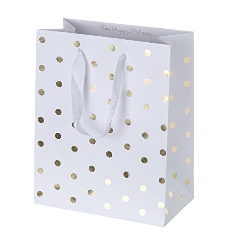 Creative Bag, Holiday Paper Shopping Bags, 8x4.5x10'', Sweet Life - Gold Dots, 100ct, Merchandise, Retail, Party, Boutique, Gift, Bulk, Notion, Christmas, Holiday by Creative Bag