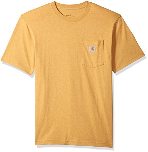 Carhartt Men's Workwear Short Sleeve T-Shirt in Original Fit K87, Gold Heather, Large -