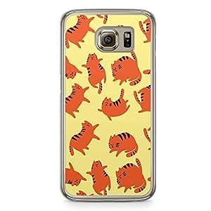 Samsung Galaxy S6 Transparent Edge Phone Case Cute Cat Phone Case Orange Cat Samsung S6 Cover with Transparent Frame