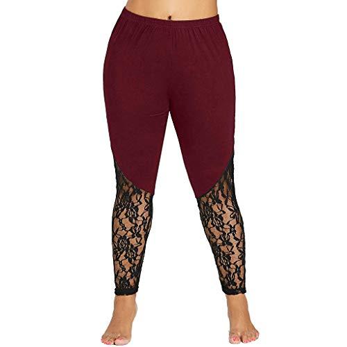Tootu Women Plus Size Elastic Leggings Solid Criss-Cross Hollow Out Sport Pants (5XL, Wine 5)