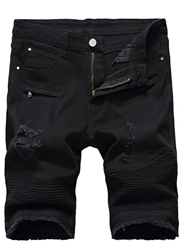 New Mens Biker T-shirt - Lavnis Men's Casual Denim Shorts Classic Fit Ripped Distressed Summer Jeans Shorts Black 29