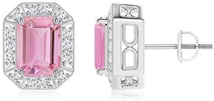 Diamante de Halo corte Esmeralda color rosa turmalina Stud Pendientes para las mujeres