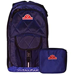 Vitalpak Medical Backpack with Removable Snap-in Essentials Kit, Navy and Blue