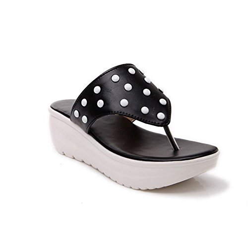 BalaMasa Ladies Pull-On Split-Toe Black Soft Material Slippers - 7 B(M) (Glass Slipper Shoes Retail)