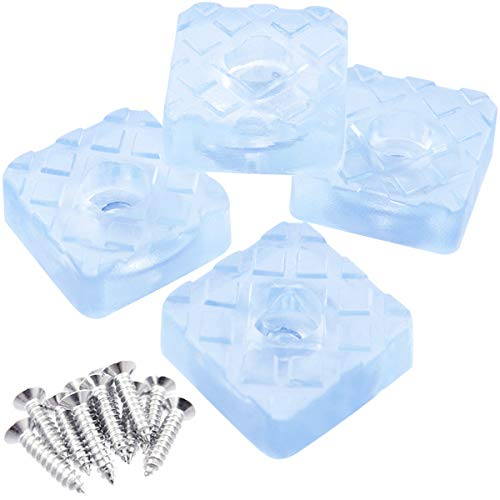(QY 12PCS Square Shape Rubber Non Slip Non Skid Feet Pad for Table Desk Chair and Sofa (12PCS Transparent 22MM with Screws))