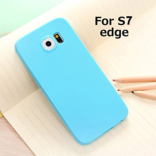 Galaxy S7 Edge Jelly Case, ANLEY Candy Fusion Series - [Shock Absorption] Classic Jelly Silicone Case Soft Cover for Samsung Galaxy S7 Edge (Sky Blue) + Free Ultra Clear Screen Protector