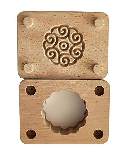 (JKLcom Wooden Moon Cake Mold Chinese Traditional Mid-autumn Festival Double-Layer Mooncake Mold Wooden Handmade Baking Mold for Muffin Soap Cake Cookie Biscuit Chocolate Pumpkin Pie(Style 1))