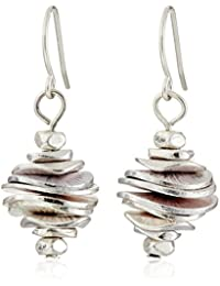 Silver-Tone Stacked Disc Drop Earrings