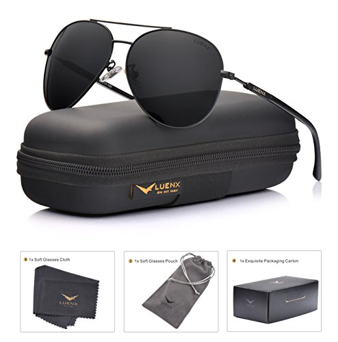 Aviator Sunglasses Mens Women Polarized Black Lens Black Metal Frame Dark 60mm with Case - - Mens Sunglass