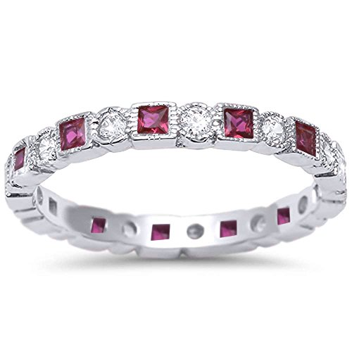 Antique Style Simulated Ruby & CZ Stackable Eternity Band .925 Sterling Silver Ring Sizes 7