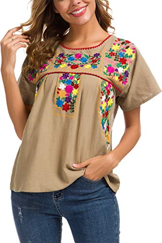 YZXDORWJ Women's Embroidered Mexican Peasant Blouse (XL, 290GR) ()