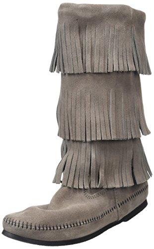 Minnetonka Calf Hi 3-Layer Fringe, Botas Mocasin Para Mujer Gris (Medium Greymedium Grey)