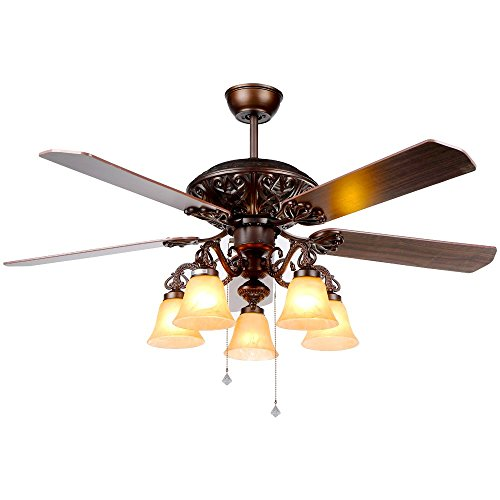 Andersonlight Antique Bronze Ceiling Fan with Five Reversible Walnut/Cherry Blades and 5 Milky Glass Shade Light Kit, Pull Chains Control, Multi-Speed(High/Medium/Low Mode), Reversible Airflow 48-In (Antique Cherry Bronze)