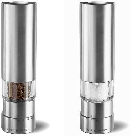 Cole /& Mason Gourmet Precision Greenwich Electronic Pepper Mill 21 cm 21 cm with Gourmet Precision Greenwich Electronic Salt Mill Stainless Steel//Silver Stainless Steel//Silver