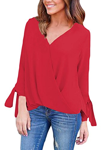 V-Neck Plus Size Batwing Sleeve Blouse Chiffon T-Shirt Top (Red) - 1