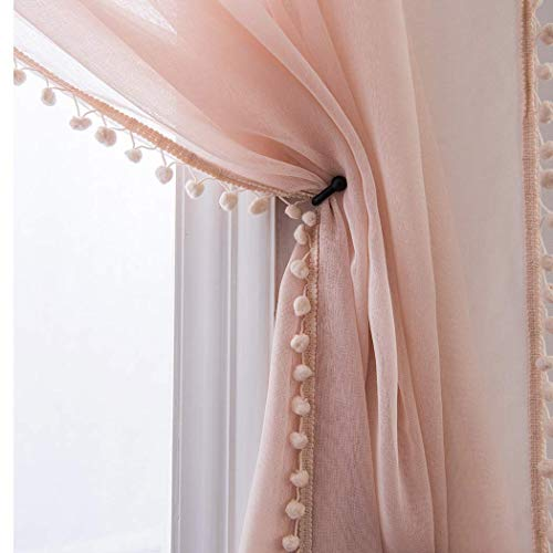 - Selectex Linen Look Pom Pom Tasseled Sheer Curtains - Rod Pocket Voile Curtains for Living and Bedroom, Set of 2 Curtain Panels (52 x 84 inch, Blush)