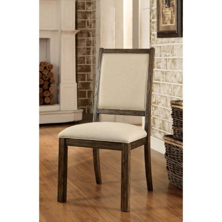 Furniture of America Penelle Contemporary Fabric Dining Chair, Rustic Oak, 2pk