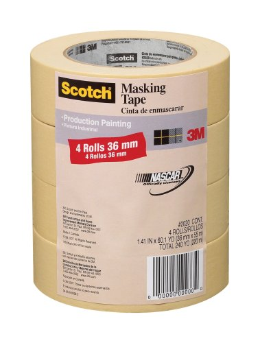 3M 2020 Scotch Masking Tape for Production Painting, 1.41-Inch x 60.1-Yard, 4-Pack by 3M