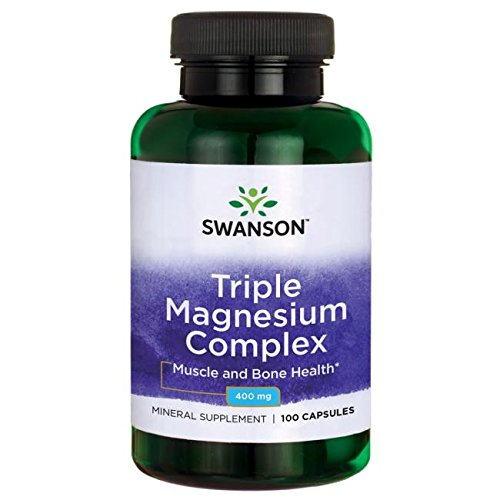 Swanson Triple Magnesium Complex, Absorption Support, Bone and Mood Health, Citrate, Oxide and Aspartate Combination Supplement 400 mg 100 Capsules