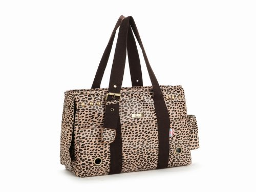 Petsmartpm 103PB Coffee Leopard Print Leather Dog Carriers Purse Pet Tote Bag Puppy Handbag Cat Cage Doggy Pouch