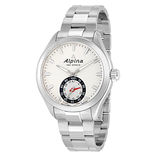 Alpina Men's AL-285S5AQ6B Horological Smart Analog Display Swiss Quartz Silver (Embossed Dial Watch)