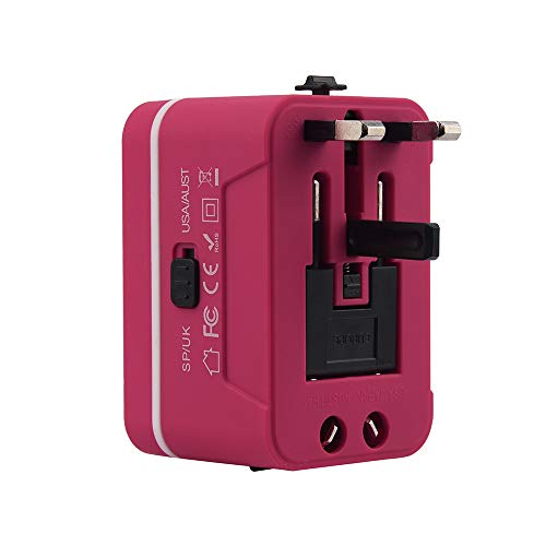Travel adapter, Universal Travel Adapter and Convertor with 2 USB Ports Power Convertor Wall Plug Power for UK/US/AU/EU (Hot Pink) by TLT Retail (Image #2)