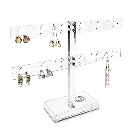 Ikee Design Premium Acrylic 20 Pairs Earring Display Stand Jewelry Holder, Clear by Ikee Design