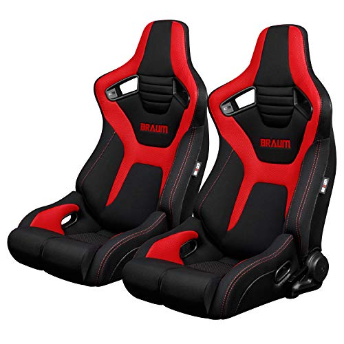 BRAUM - Pair of Black And Red Cloth ELITE-R Series Racing Seats with Red Stitches (BRR1R-BFRD) ()