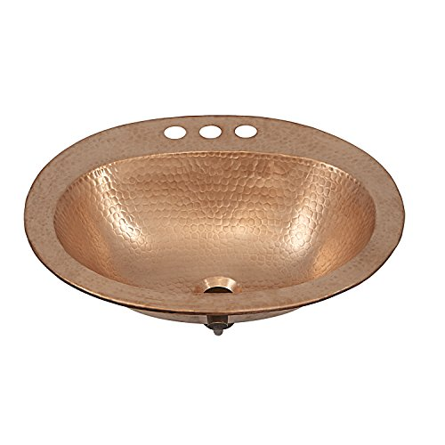 """Sinkology BOD-0903NU Kelvin Drop-in Handcrafted Bath Sink with 4"""" Faucet Holes, 20"""", Naked Copper Unfinished"""