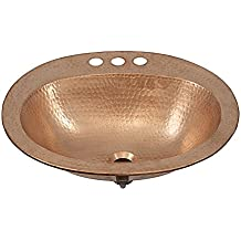 "Sinkology BOD-0903NU Kelvin Drop-in Handcrafted Bath Sink with 4"" Faucet Holes, 20"", Naked Copper Unfinished"