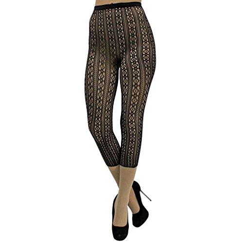 Luxury Divas Cut-Out Pattern Black Capri Length Fishnet Tights