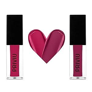 PRIVIU All Day Matte Liquid Lipcolour   Smudge & Water Proof   Non Transfer   12 Hour Stay Lipstick   Combo Pack of 2…