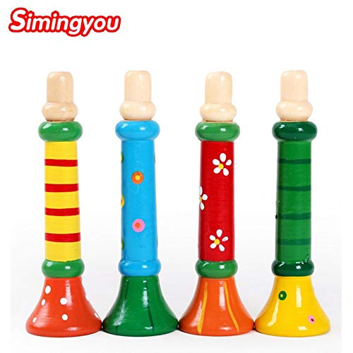 Price comparison product image ptk12 Puzzles - 1pcs Colorful Wooden Toys Trumpet Buglet Hooter Bugle Musical Toys for Kids Instruments Toy Random C20 Dropshipping 1 PCs
