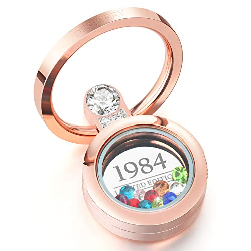 (1984 34th Personalized Birthday Gifts for Women Girls, Screw Floating Charm Living Memory Locket with Crystal, for Mom Wife Girlfriend, Customizable Cell Phone Ring Holder Rose Gold)