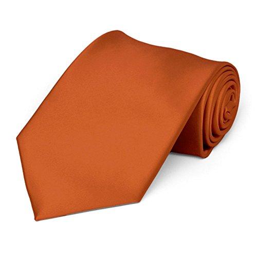 TieMart Burnt Orange Premium Solid Color Necktie from tiemart