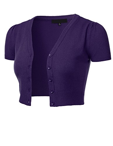 FLORIA Womens Button Down Short Sleeve Cropped Bolero Cardigan Sweater Grape 1X ()
