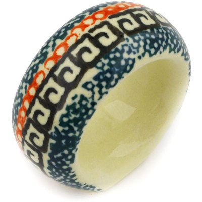 Polish Pottery Napkin Ring 2-inch Poppies UNIKAT