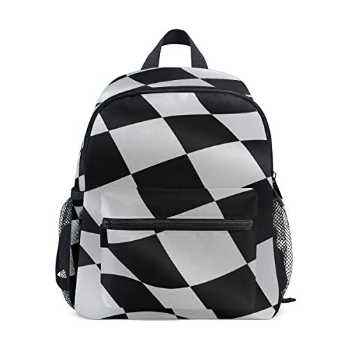 Mini Kids Backpack Daypack Black White Checkered Flag Pre-School Kindergarten Toddler Bag for Travel Girls Boys ()