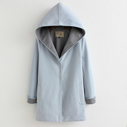 size Blue Solid Coat DYF Two Loose Hat sides Color sleeve Wear Grey Woollen Long Big CXq5OHw