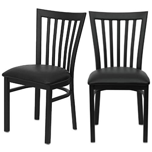 Modern Style Dining Chair Vertical School House Back Design Black Powder Coated Frame Finish Bar Restaurant Commercial Home Office Furniture Decor - Set of 4 Black Vinyl Seat - Restaurant Schoolhouse Chairs