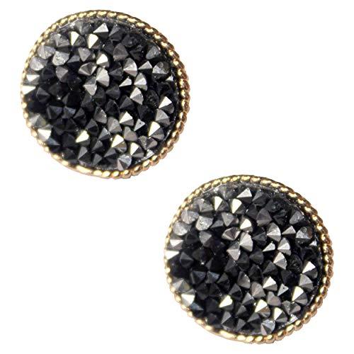 Cluster Earrings Diamond Silver (Stud Cluster Earrings for Women - Zoomnovo Handmade CZ Rhinestone Diamond Cluster Mini Round Stud Earring Fashion Jewelry (Black & Silver))
