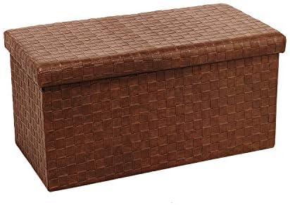 Bonlife Faltbarer Sitzhocker Aufbewahrungsbox Faltbar PVC Belastbar Bis 300 Kg (Braun)