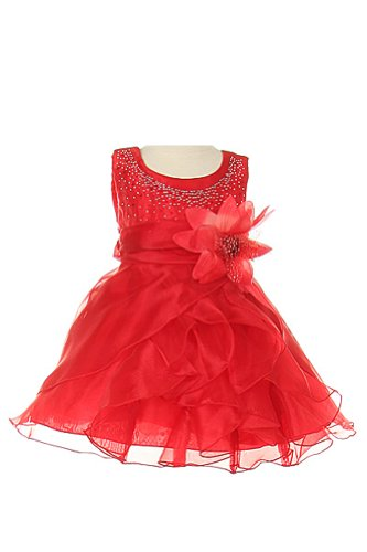 Cinderella Couture Baby-Girls Cascading Organza Dress Red Xl 24M (B1101)