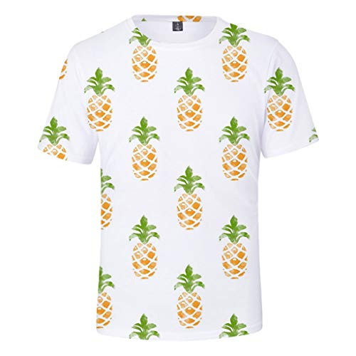 Kawaiine Men's Casual Plus Round Neck Pineapple Print Loose T Shirt Blouse Tops (Made in China) XXS-4XL Green