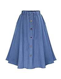 XNN Women's Thin Blue Cotton Elastic Waist A-Line Pleated Midi Denim Skirt