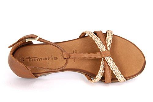 Tamaris 28132, Sandalias con Cuña para Mujer Marrón (Cognac Comb 392)