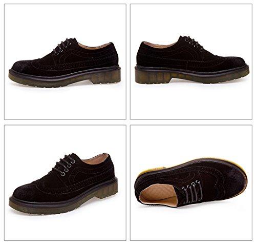 Honeystore Unisex Retro Brittisk Brogue Shoelace Skor Micro Dagdrivaren Lägenheter Svart